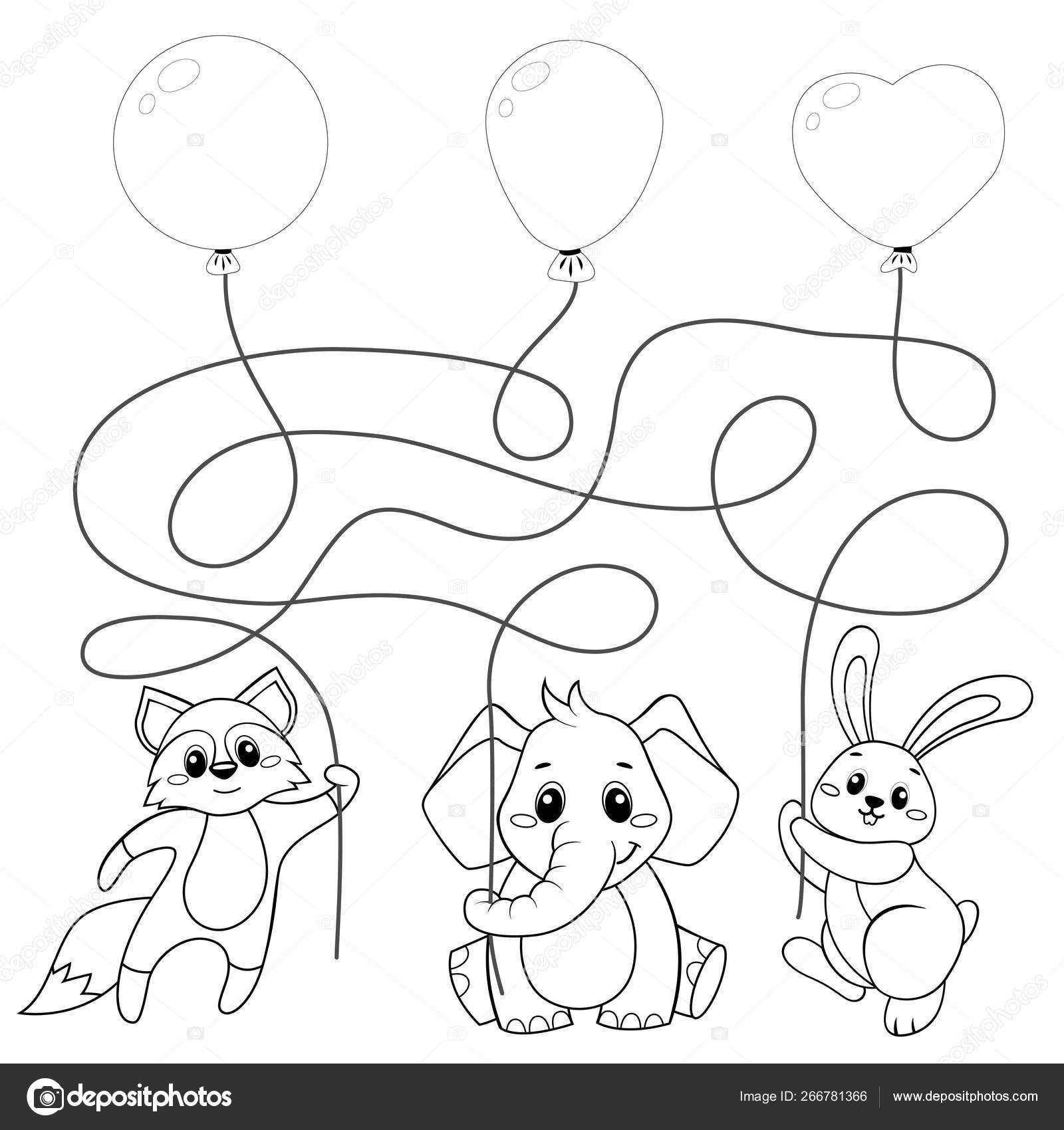 Balonlarla Ucan Hayvanlar Bulmaca Cocuklar Icin Labirent Oyunu