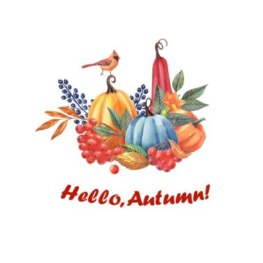 Autumn emblem from autumn leaves of berries and pumpkins. Design for textiles, fabrics, book graphics.