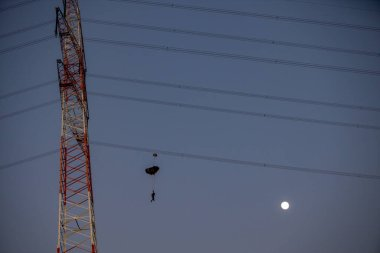 B.A.S.E Jumping from antenna with full moon