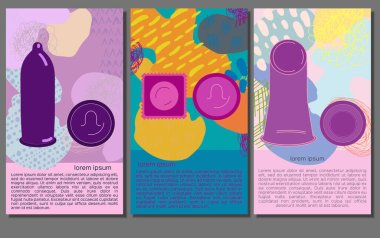 Flyer set with male and female condom icons on trendy background. Packed and unpacked rubbers. Contraception concept. Vector illustration with lorem ipsum text. icon