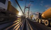 Bau- und Lastkraftwagen über die Brücke