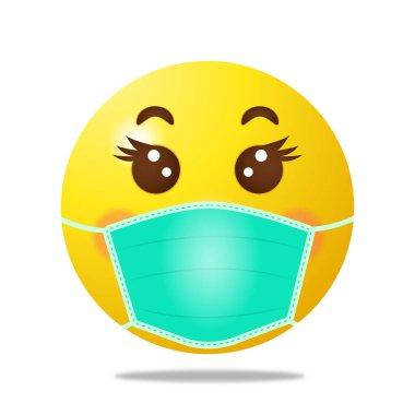 Emoji with medical mask. High quality emoticon on white background. Corona emoji. Mask emoji. Medical mask emoticon. Virus. Medical mask emoji icon. Vector
