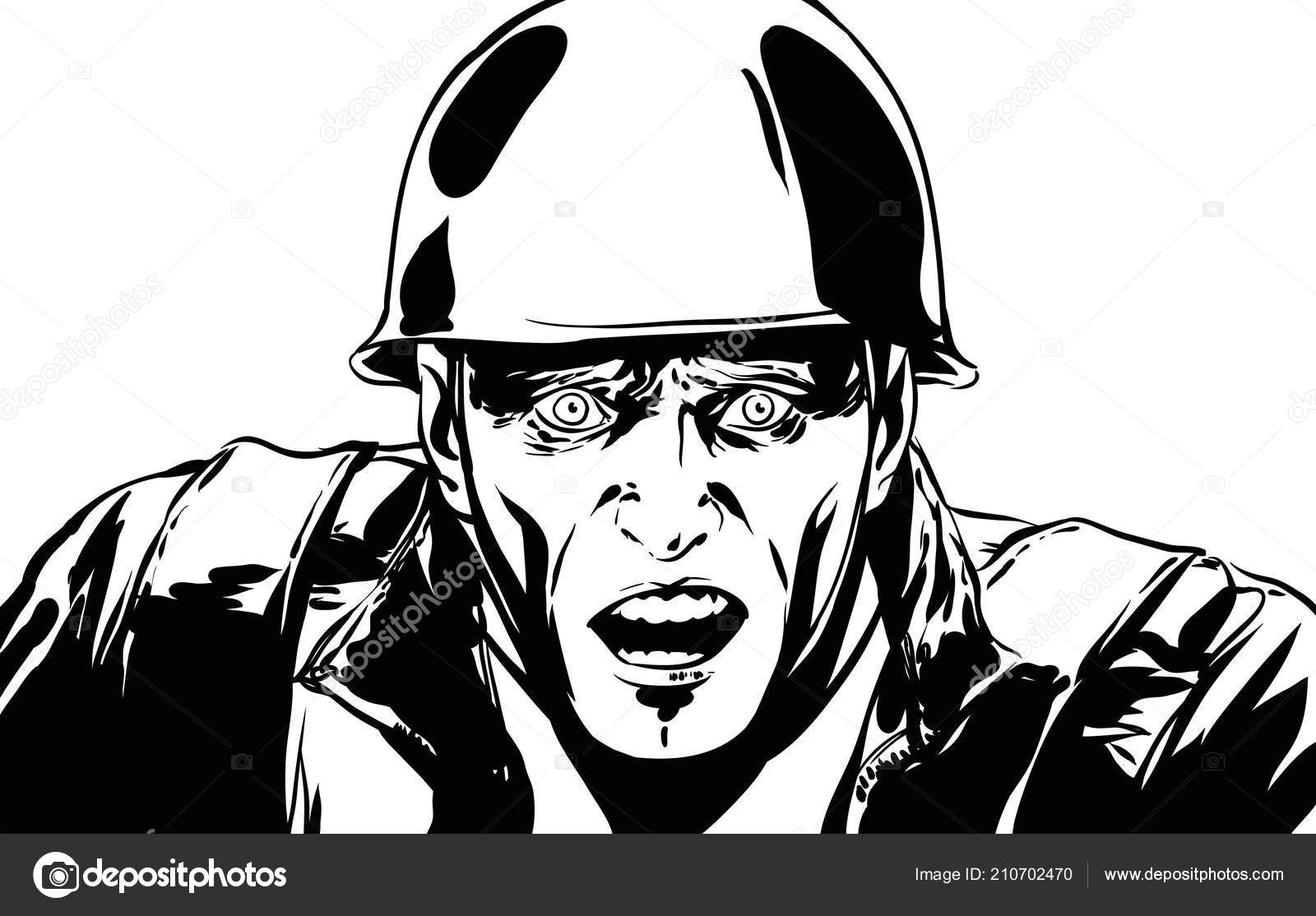 Comics Art Soldier Character Scared Face Expression Black