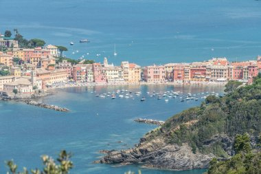 Panoramic aerial view of Sestri Levante and the Gulf of TIgullio from the path to Punta Manara