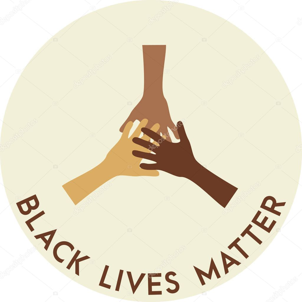 Stop racism icon. Motivational poster against racism and discrimination. Many hands of different races together Vector Illustration icon
