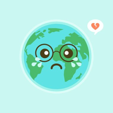 Cute funny world Earth emoji showing emotions of colorful characters vector Illustrations. The Earth, save the planet, save energy, the concept of the Earth day icon