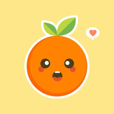 Cute and kawaii Cartoon character orange. Healthy Happy Organic Fruit Character Illustration. Citrus fruits that are high in vitamin C. Sour, helping to feel fresh. icon