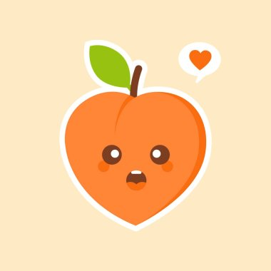 Peach kawaii emoticon cartoon illustration. Peach Social Media Emoji. Modern Simple Vector For Web Site Or Mobile App. Peach Character Mascot .Fruits & Vegetables Cute Simple icon logo Design Vector icon