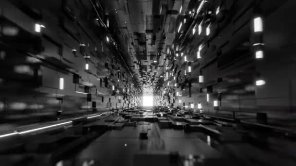 Flythrough sci-fi abstract cubic corridor black and white 3d animation 4K futuristic tunnel with glowing neon lights lining the walls of the pathway and blinking randomly, minimalist black