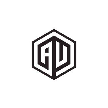 A U hexagon letter logo design concept