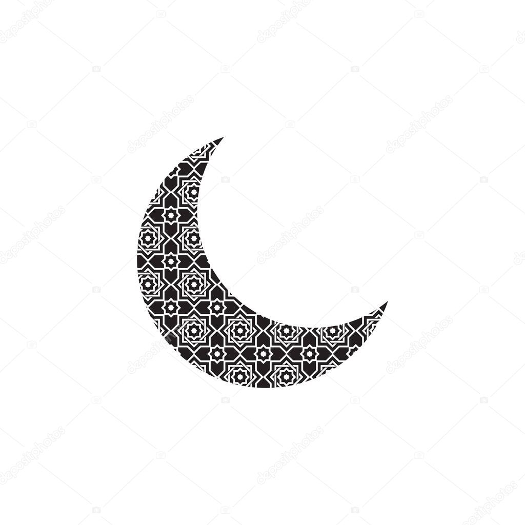crescent moon with islamic pattern icon symbol flat vector premium vector in adobe illustrator ai ai format encapsulated postscript eps eps format islamic pattern icon symbol flat vector