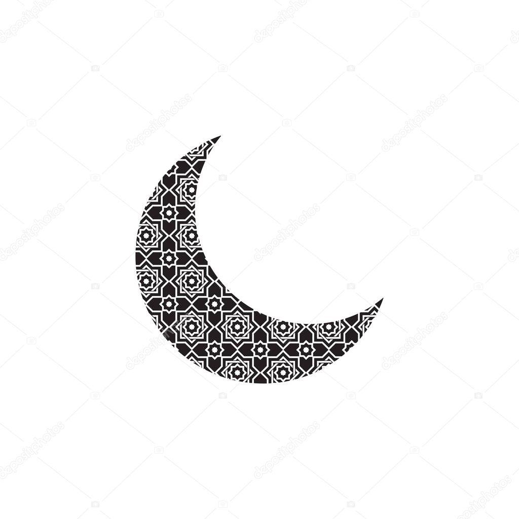 crescent moon with islamic pattern icon symbol flat vector premium vector in adobe illustrator ai ai format encapsulated postscript eps eps format islamic pattern icon symbol flat vector