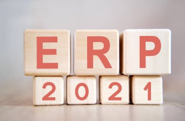 Text - ERP 2021 on wooden cubes, on wooden background