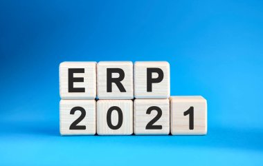 ERP 2021 years on wooden cubes on a blue background