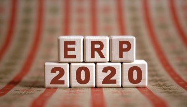 ERP 2020 text on wooden cubes on a monochrome background with reflection.