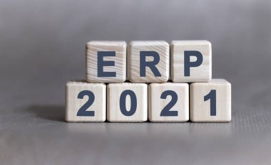 ERP text on wooden cubes on a monochrome background
