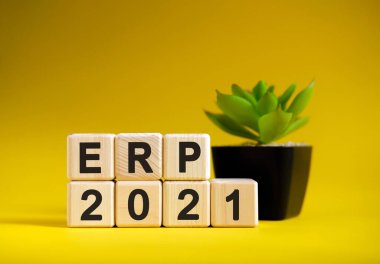 ERP - business financial concept on a yellow background. Wooden cubes and flower in a pot.