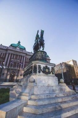 Prince Mihailo Monument located in the main Republic Square in Belgrade, Serbia