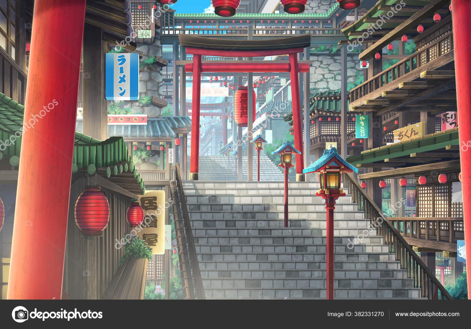 Secret Town Day Anime Background Illustration Stock Photo C Deztinie 382331270