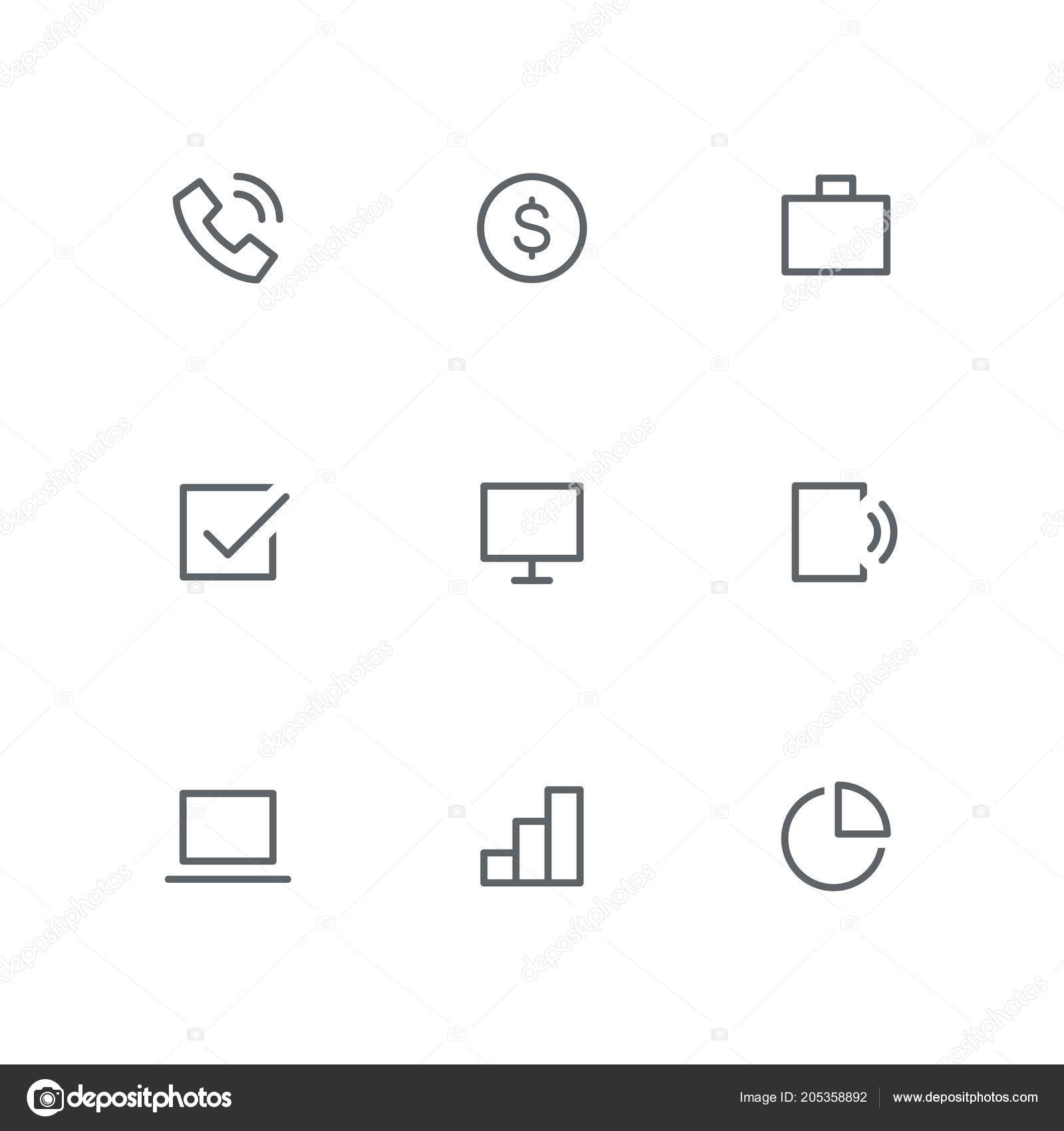 basic outline icon set - telephone, dollar coin, briefcase, check mark,  computer screen, mobile phone, laptop, graph and diagram symbols