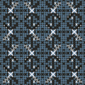 Seamless intricate pattern in a combination of gloomy blue and light neutral colours designed from overlapping geometric shapes. Vector design suitable for wallpaper, wrapping paper, mens fashion.