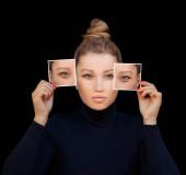 Alsó és felső Blepharoplasty.Jelölés az arc.Perforációs vonalak a nők arc, plasztikai sebészet koncepció.