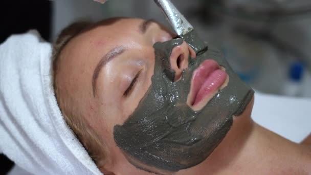 Kosmetolog naneste hliněnou masku se štětcem na mladou hezkou ženskou tvář na kosmetické klinice, lázeňský salon. Kosmetička dělat krásu obličeje péče o pleť procedura na kavkazské evropanky žena