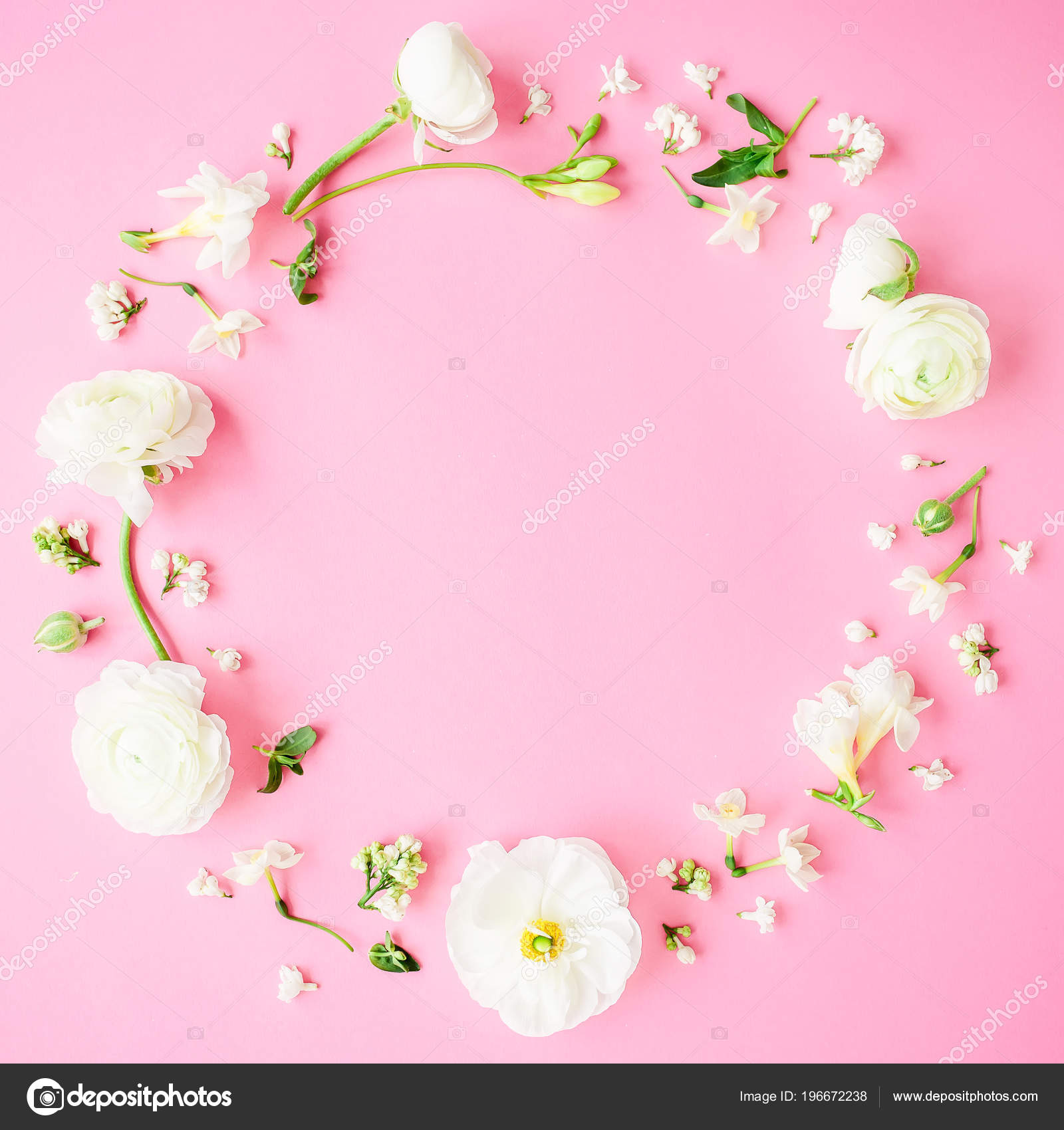 Cerchio Vista Superiore Fiori Sfondo Rosa Pastello Foto Stock