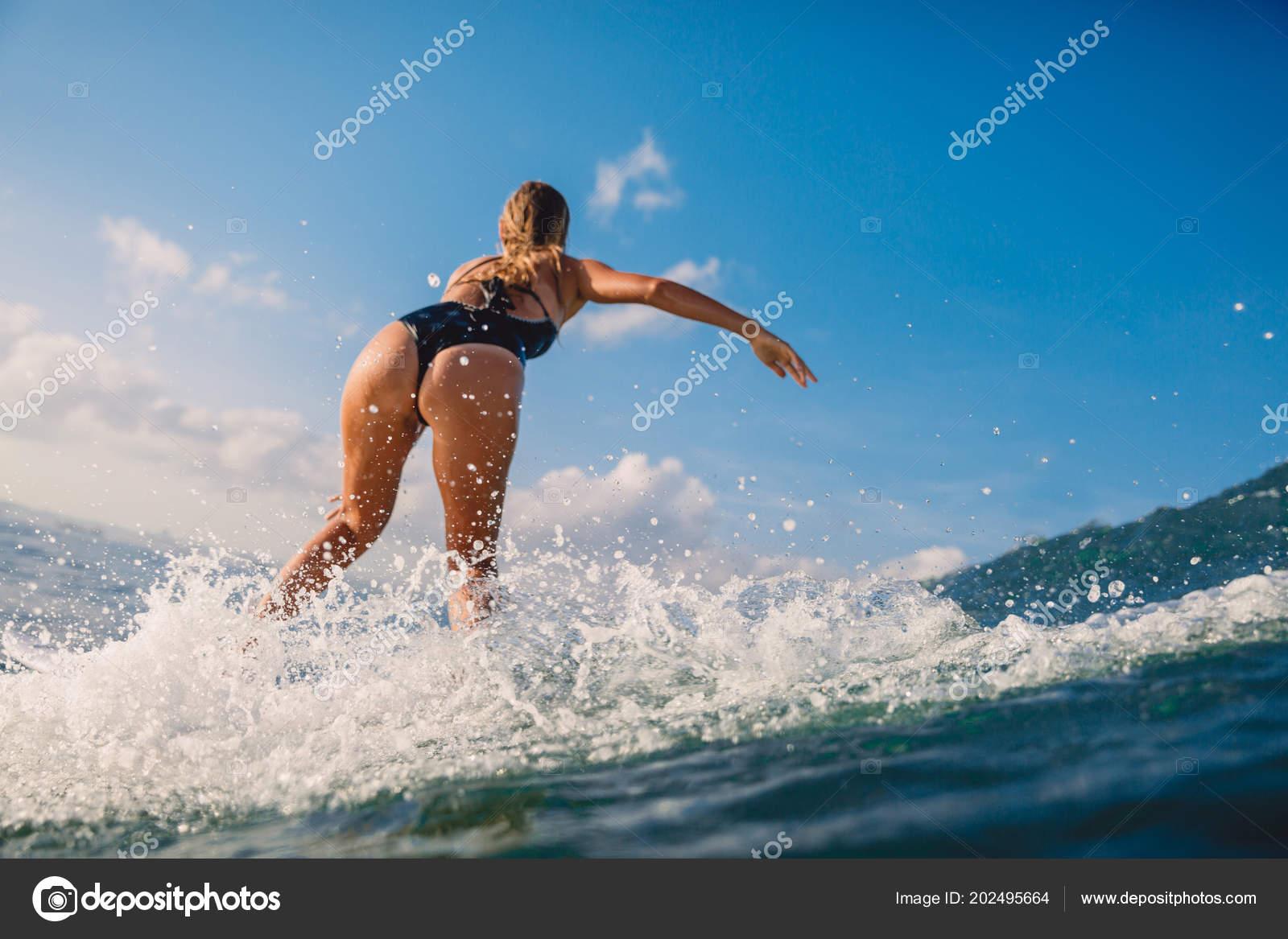 Professional Surf Woman Surfboard Surfing Wave Ocean Stock