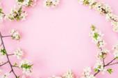Virágos keret fehér tavaszi virágok elszigetelt rózsaszín háttér. Lapos feküdt, felső kilátás. Tavaszi idő háttér