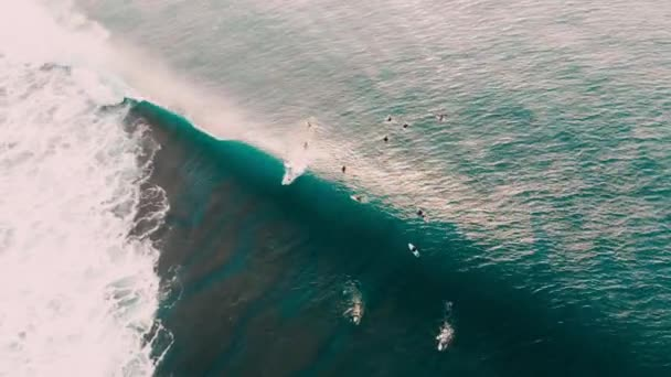 Aerial view of surfers and blue barrel wave in ocean. Surfing and waves in Bali
