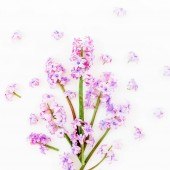 Floral spring bouquet with pink flowers on white background. Flat lay, top view. Valentines day