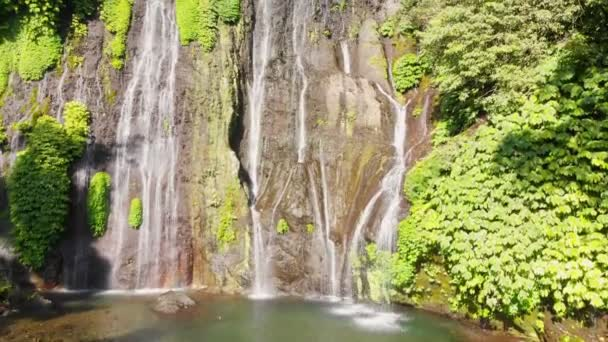 Aerial view of waterfall in tropical jungle, Bali