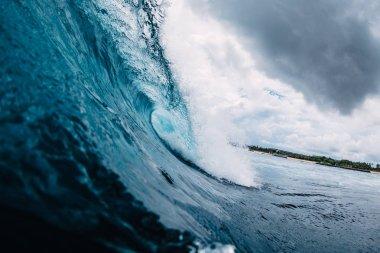 Blue wave in ocean. Breaking wave in tropics stock vector