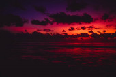 Bright colorful sunset  with clouds in Bali and ocean