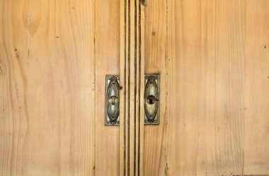 Closeup of vintage brown closet doors, vintage design beauty