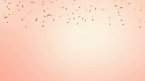 Realistic rose gold confetti falling. Party background footage.