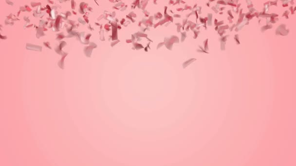 Abstract red or rose gold confetti falling on pastel pink background.