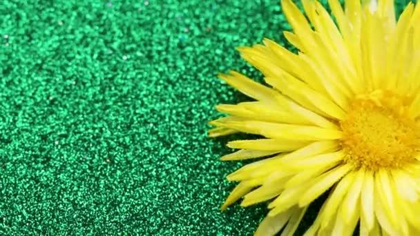 Sárga virág és zöld csillogó felületen forgatható. Közelről.