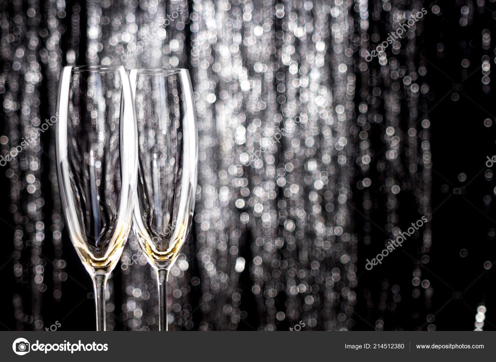 Empty Champagne Wine Glasses Glitter Christmas Tinsel Decoration