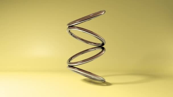 Abstract 3D gold ring tours rotating on yellow background. 4k seamless loop animation footage.