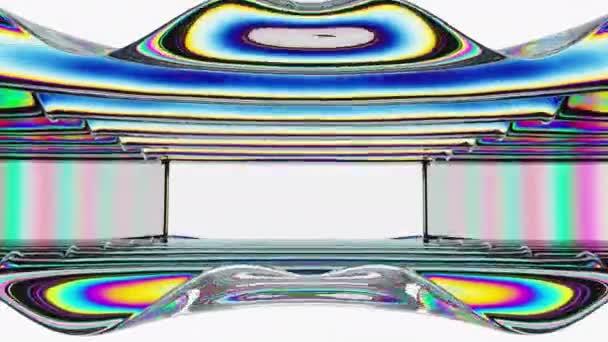 Abstraktní prostorový tunel se skleněnými vlnami s odrazem barev. 4k plynulá animační smyčka.