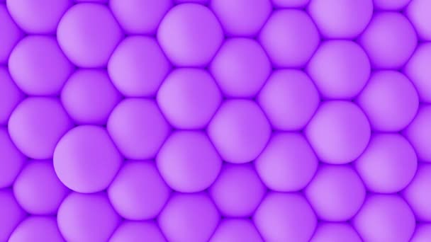 Abstract 3d shapes soft purple balls wall animation. 4K looping footage.