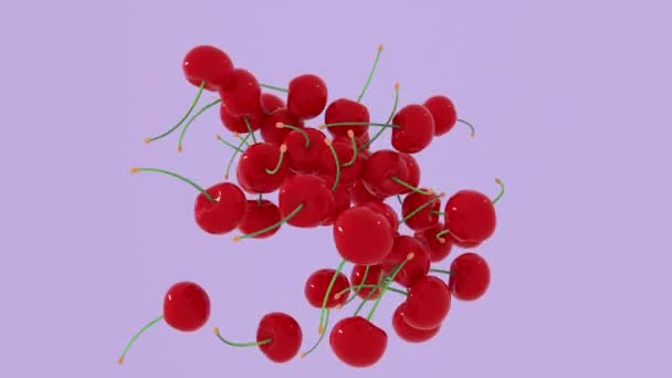 Abstract 3D rendering red cherry flying on differents pastel background. 4K animation.