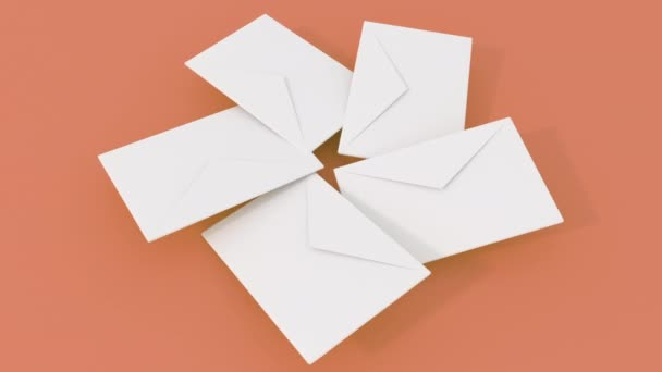 3d render animation of 5 postal letter rotating on different color surface. 4k seamless loop footage.