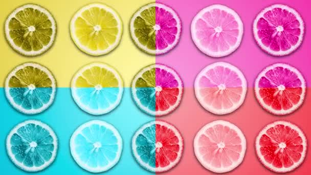 Abstract color animation of sliced lemon and grapefruit on different pastel back