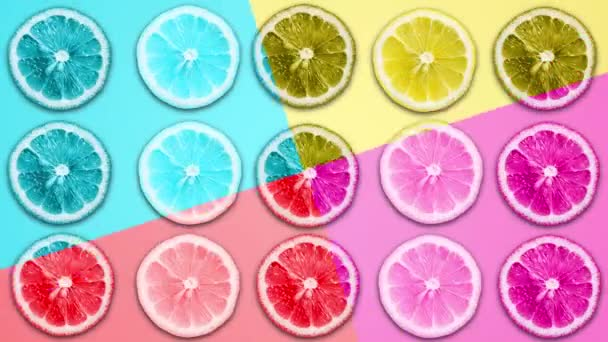 Abstract color animation of lemon and grapefruit on different pastel backgrounds