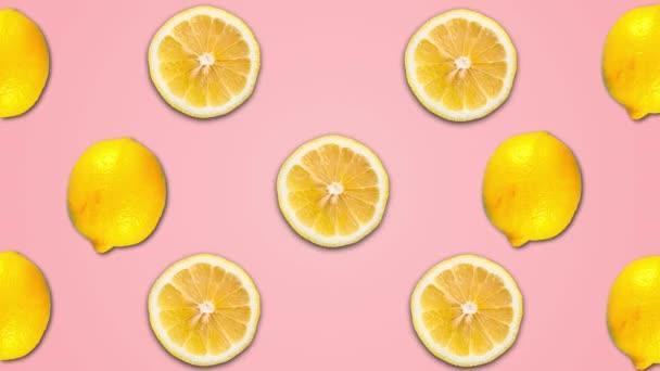 abstrakte Farbanimation von Zitrone auf rosa Pastellgrund. 4k nahtlose Schleife cl