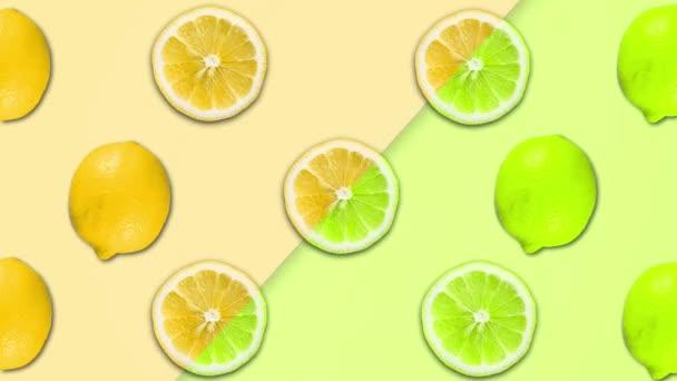 Abstraktní barevná animace nakrájené citrony a různé pastelové rotační backgroun