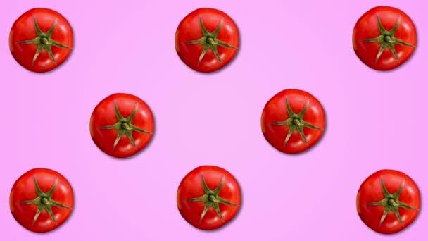Abstraktní barevná animace tomatových barev na pastelově fialových podkladových barvách. 4k bezešvý záchod